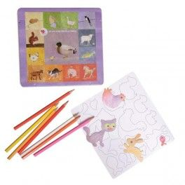 Magnets animaux de la ferme à colorier, crayons inclus