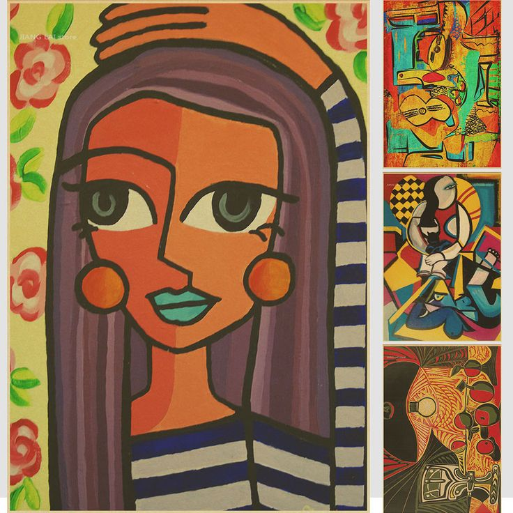 World famous painter Picasso paintings album painting posters kraft bar decorative painting