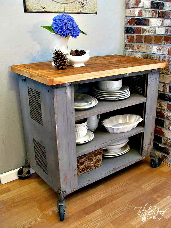 blue roof cabin: DIY Industrial Kitchen Island