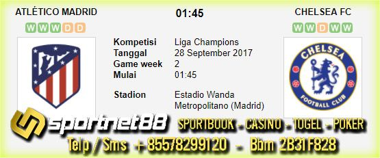 Prediksi Skor Bola Atletico Madrid vs Chelsea 28 Sep 2017 Liga Champions di Estadio Wanda Metropolitano (Madrid) pada hari Kamis jam 01:45 live di beIn Sport 1