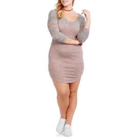 Plus Size No Comment Juniors' Plus V-Neck Football Dress, Size: 1XL, Pink