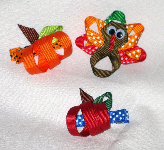 turkey, pumpkin apple hair clippie clip bow ribbon sculpture for autumn fall seasons