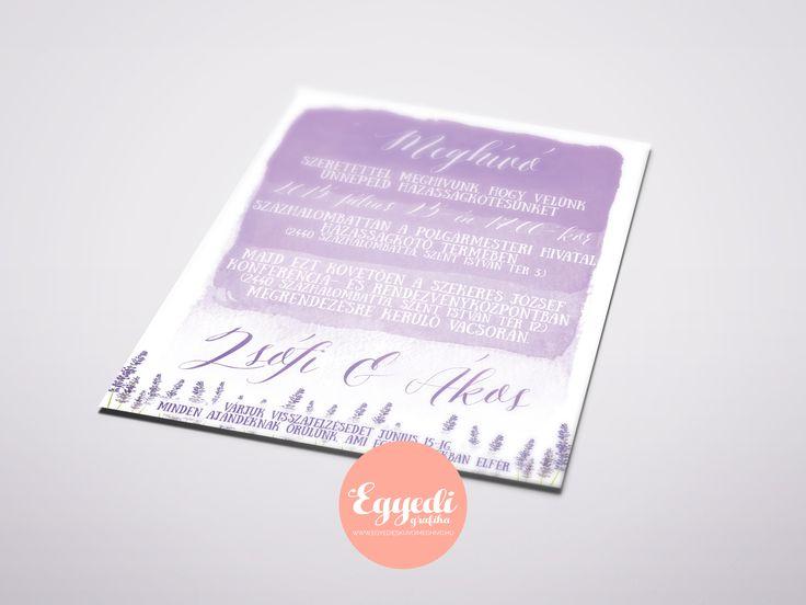 Levendula virágos, színátmenetes esküvői meghívó | Watercolored lavender wedding invitation