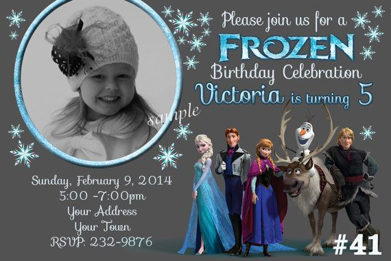 Frozen Invitation /  Birthday Party Photo Invite.  You Print . Digital File, Chalkboard , Disney Frozen invitation on Etsy, $9.95
