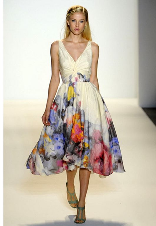 Lela Rose watercolor print dress with the full skirt is completely beautiful and feminine.