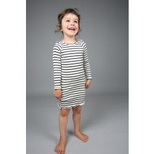 Baja silk-cotton dress. Kids clothes, baby clothes, soft, comfort, elastic, natural, stripes, long sleeves.