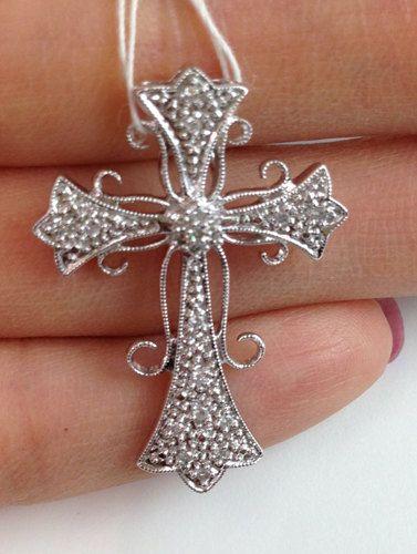 Pave Diamond White Gold Cross - Elegant Curved Design 14k - On Sale for $375