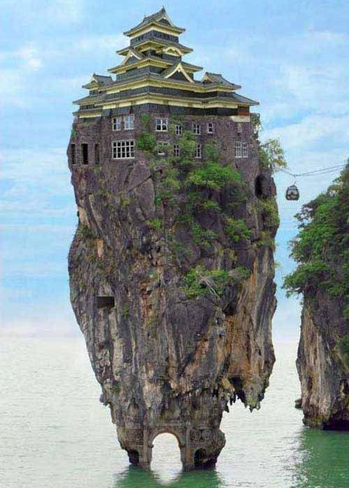 """How is this for a """"room with a view""""?: Amazing, Unusual Home, Rocks Houses, Dreams, Crazy Houses, Islands, Architecture, Places, Unusual Houses"""