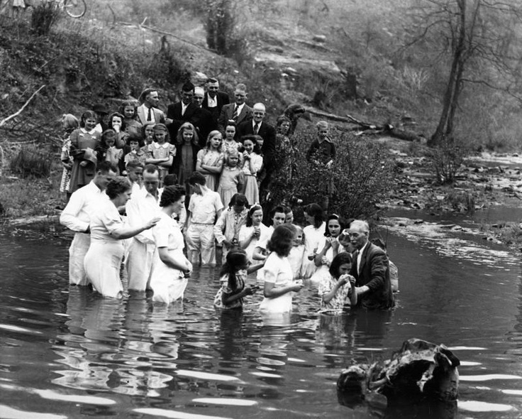 Baptism in the river. From