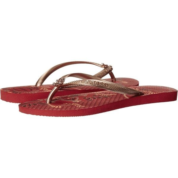 Havaianas Slim Thematic Flip Flops (Ruby Red) Women's Sandals ($18) ❤ liked on Polyvore featuring shoes, sandals, flip flops, red, red shoes, strappy shoes, havaianas sandals, summer shoes and rubber shoes