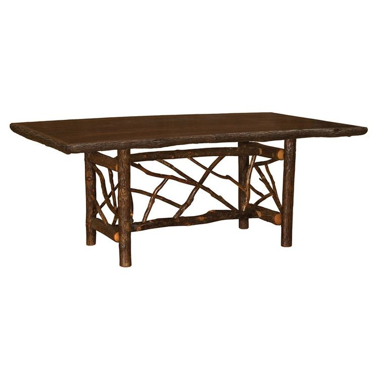 fireside lodge furniture hickory rectangle 7 ft twig log dining table 85348a