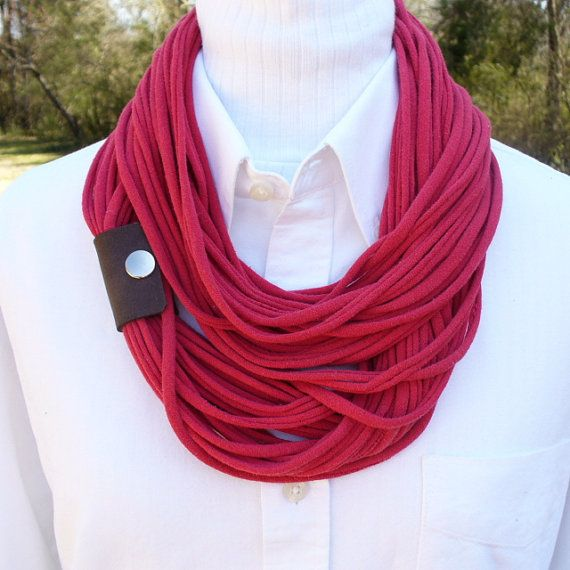 Red Infinity T shirt Scarf with Leather Cuff by patsycakesblue, $24.00