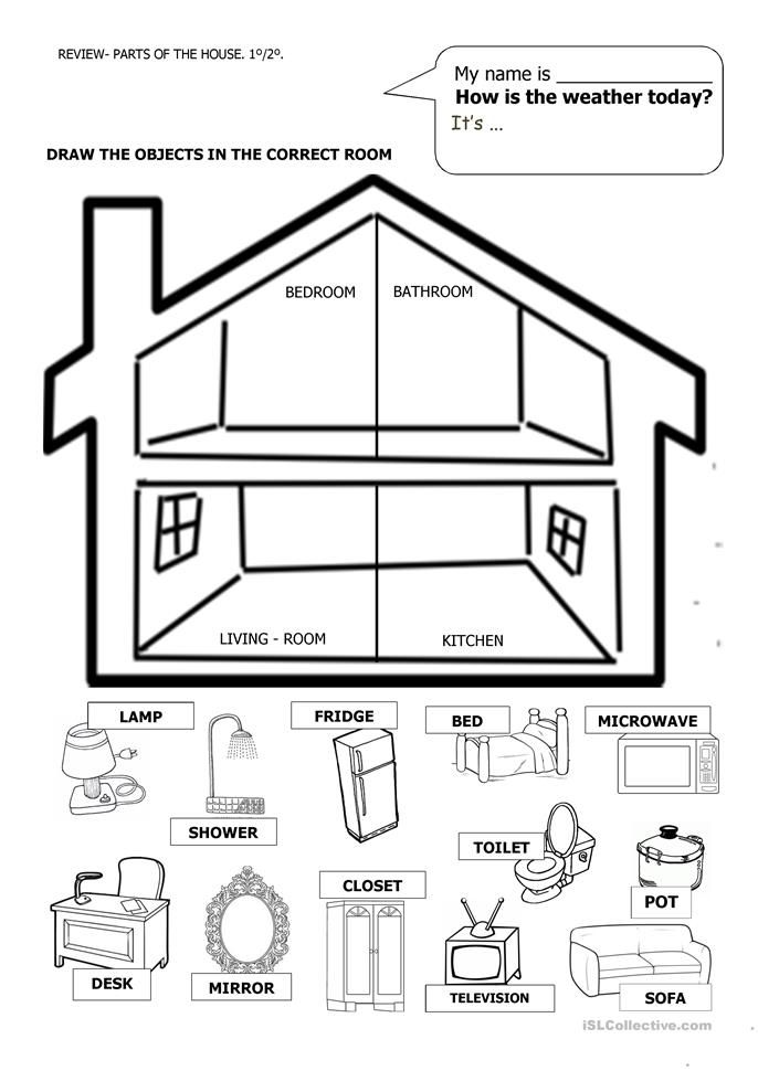 House And Furniture English Worksheets For Kindergarten English Worksheets For Kids Worksheets For Kids