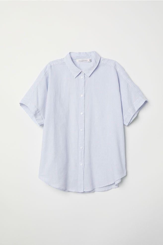 7b9e9e96042993 Short-sleeved cotton shirt - Light blue/White striped - Ladies | H&M GB 4