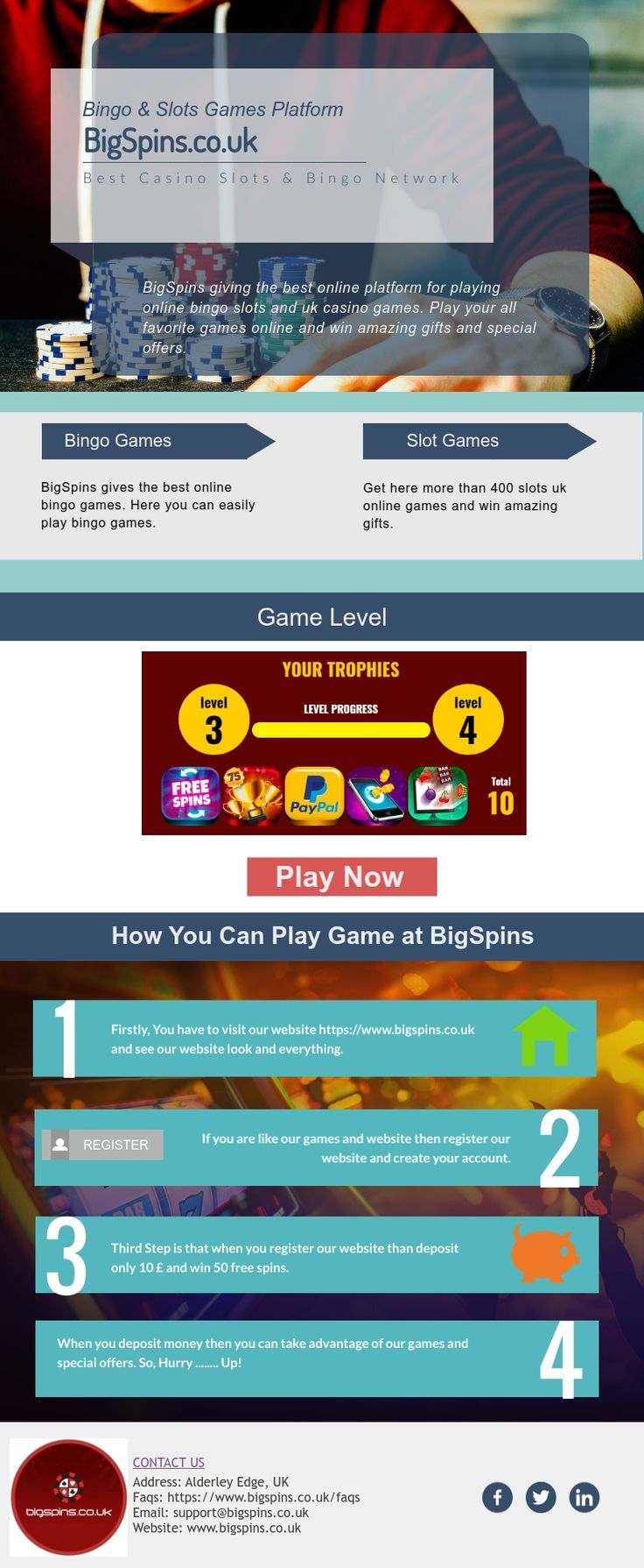 BigSpins gives the best bingo slot games and UK casino