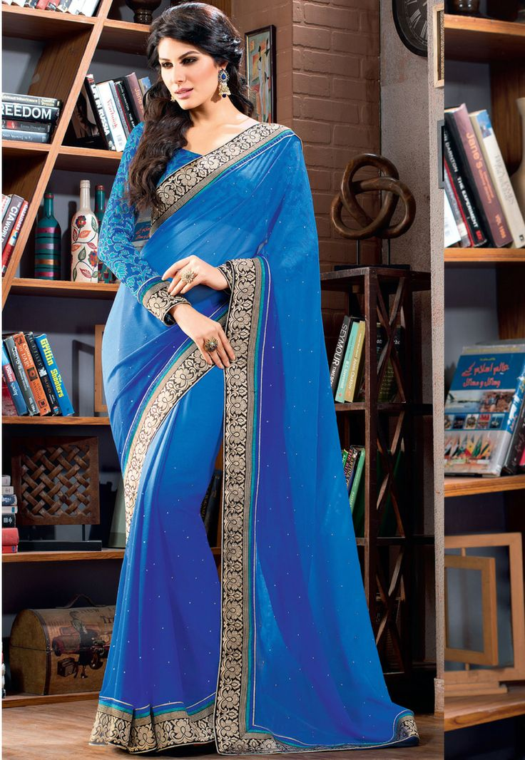#BRIGHT BLUE!! Blue Chiffon Saree designed with Heavy Lace Patta Work. As shown Blue Art Silk Blouse fabric is available which can be customized as per requirements.   INR- 2863 only With Exclusive 30% Discount  Shop now@ http://tinyurl.com/ml8zu6p