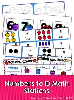 This pack will provide you with 7 centers to teach your students about numbers to 10. 1) Play Dough Mats 2) Roll and Trace 3) Count and Match 4) Roll and Cover 5) Roll and Build 6) Match and Make It 7) Make It If you have any questions please email me at talesfrommissd@gmail.com.
