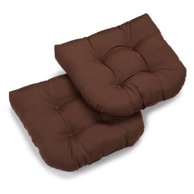 Blazing Needles Twill U-Shaped Indoor Chair Cushion - Set of 2 Chocolate - 93184-2CH-TW-CH