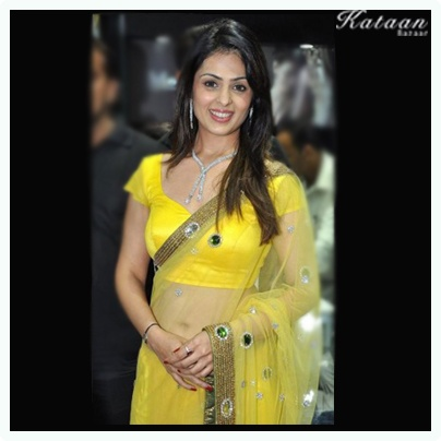 Anjana Sukhani in a bright YELLOW saree!