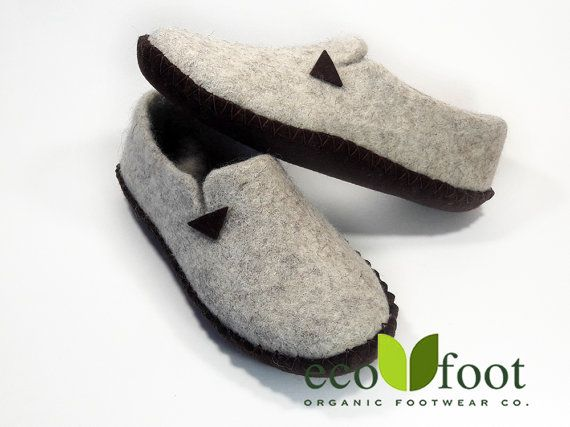 Woolen slippers Handmade Organic felted slippers for woman's Natural wool felt clogs Woman's house shoes Felted clogs large size Sole - felt