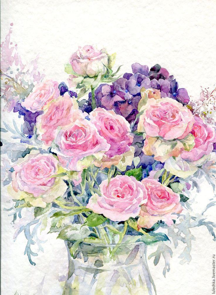 Купить Букет из роз и гортензий - разноцветный, букет цветов, букет акварелью, розы, гортензии