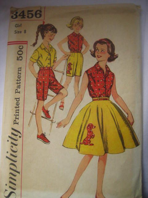 Vintage 1950s Simplicity 3456 Sewing Pattern For Poodle Skirt Shorts And Blouse Girls Size