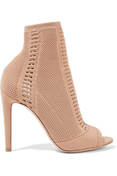 Gianvito Rossi | Vires peep-toe perforated stretch-knit ankle boots | NET-A-PORTER.COM