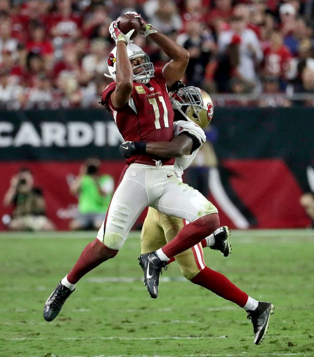 49ers vs. Cardinals:  23-20, Cardinals  -  November 13, 2016 -     Arizona Cardinals wide receiver Larry Fitzgerald (11) makes a catch as San Francisco 49ers cornerback Jimmie Ward (25) defends during the second half of an NFL football game, Sunday, Nov. 13, 2016, in Glendale, Ariz. (AP Photo/Rick Scuteri)