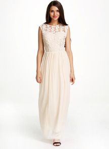 Apricot Sleeveless Floral Crochet Lace Ball Maxi Dress -SheIn(Sheinside)