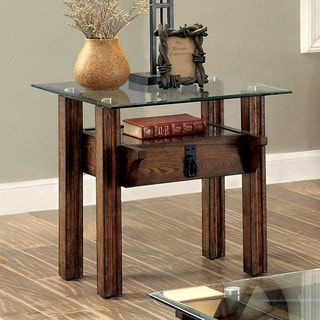 Furniture of America Charlotte Rustic Glass Top End Table | Overstock.com Shopping - The Best Deals on Coffee, Sofa & End Tables
