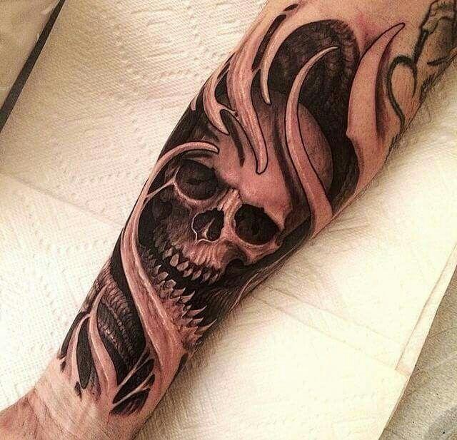 Skull Tattoo by Travis Greenough