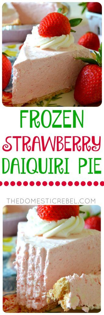 This Frozen No-Bake Strawberry Daiquiri Pie is so phenomenal! Creamy, smooth, dreamy, strawberry-flavored perfection made with frozen strawberry daiquiri mix. Only a few ingredients, so easy and tastes great frozen or chilled in the fridge. This would be GREAT for Easter!!