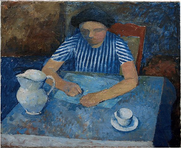 Credit: Estate of William Scott/Leicestershire Couny Council Artworks Collection Girl and Blue Table (1938)