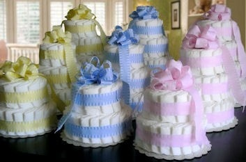 Classic Pastel Baby Shower Diaper Cake - Pink, Blue or Yellow