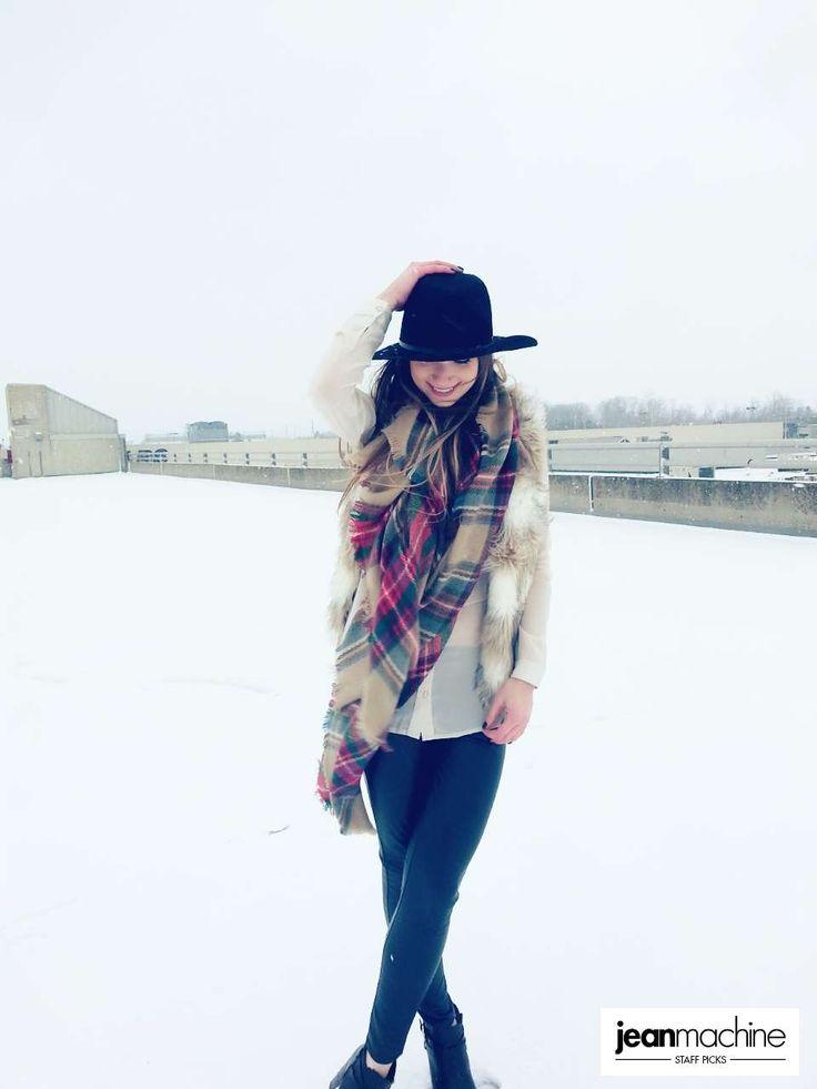 In our latest #StaffPicks Rachel & Christie vest it up for Winter Warmth! #GetYourHolidayOn   Get this look: @mavicanada Vegan Leather Leggings // @ONLYjeans Balsa Chiffon Panel Blouse // Underskies Faux Fur Vest Grandcraft Plaid Blanket Scarf // YDE Fedora