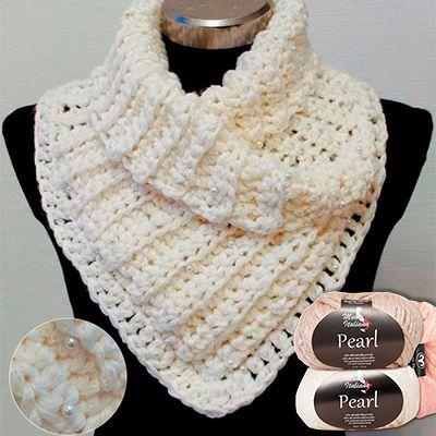 Hæklet sjalskrave i Pearl garn