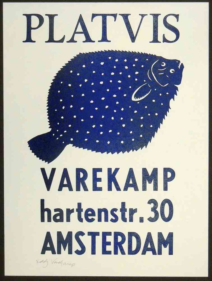 Linocut and wooden letters, flounder, varekamp hartenstr. 30 Amsterdam