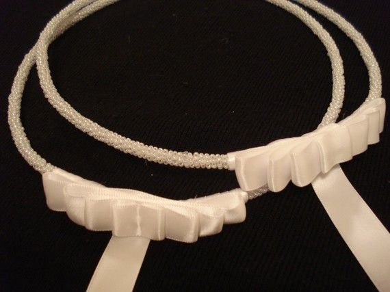 Stefana  Greek Wedding Crowns by N1kkole on Etsy, $60.00 White pearly beads with plain white bow.