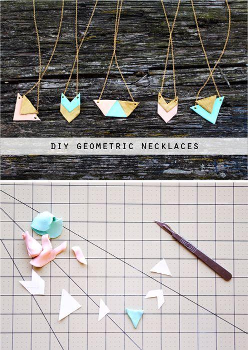 diy geometric necklaces mit Fimo Knete