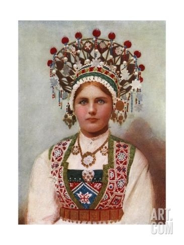 Norwegian Girl in Bridal Dress, 1899 Giclee Print by Bergen, Norway Söstrene Persen at Art.com