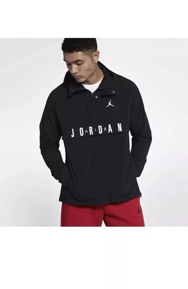 21ee22c1d552 Nike Air Jordan Wings Anorak Pullover Windbreaker Black White 942729-011 SZ  XL  Nike