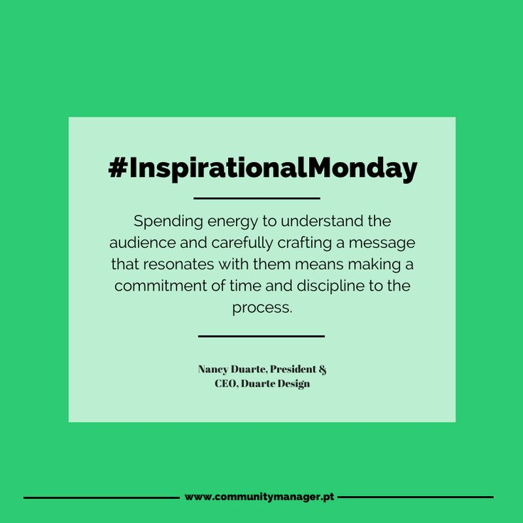 """""""Spending energy to understand the audience and carefully crafting a message that resonates with them means making a commitment of time and discipline to the process"""" - Duarte Design president and CEO Nancy Duarte #MarketingQuotes #InspirationalMonday"""