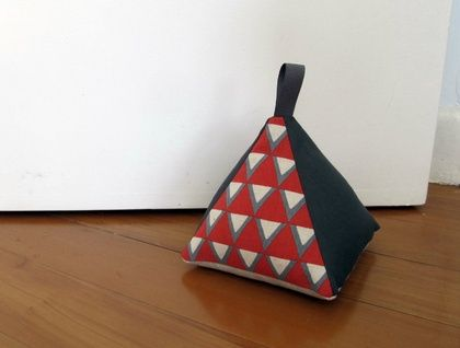 Pyramid Doorstop - Red & Grey Triangles | Felt