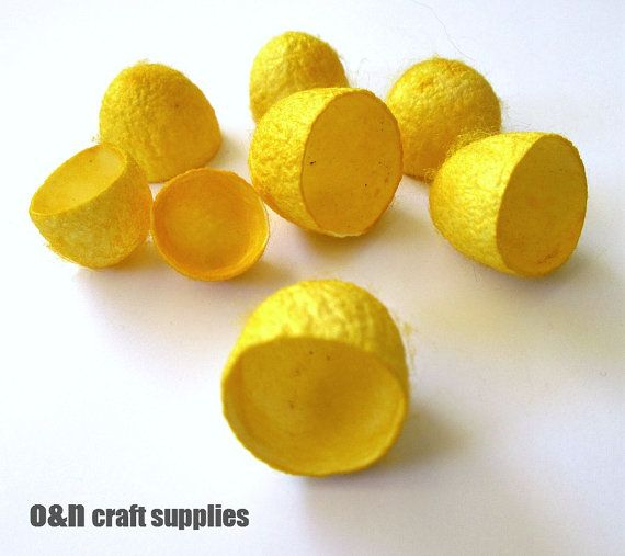 Dyed silk cocoons yellow set of 8 halves by OandN on Etsy, $3.90 #silkcocoons #jewelrysupplies