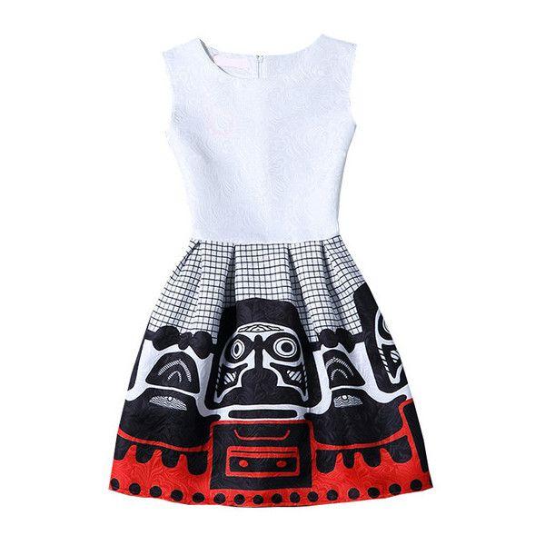 SheIn(sheinside) White Sleeveless Print Jacquard A-Line Dress (£11) ❤ liked on Polyvore featuring dresses, shein, multicolor, sleeveless skater dress, white a line dress, sleeveless dress, jacquard dress and short skater dress