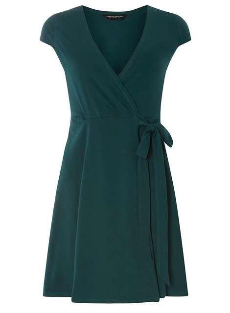 Robe portefeuille verte - Robes Ajustées & Évasées - Robes - Dorothy Perkins France