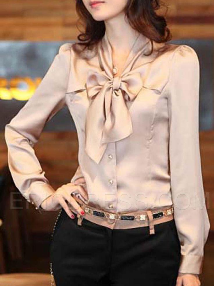 Estilo de moda de Corea del nudo del arco de manga larga blusa Blusas de manga larga