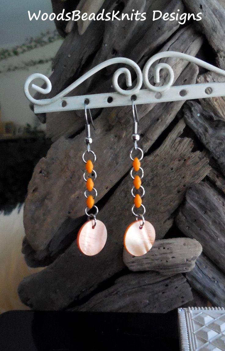 Dangle Earrings, Shell Earrings, Czech Glass Beads, Orange, Hypoallergenic Stainless Steel Hooks, Lightweight, Boho, Mother Day Gift