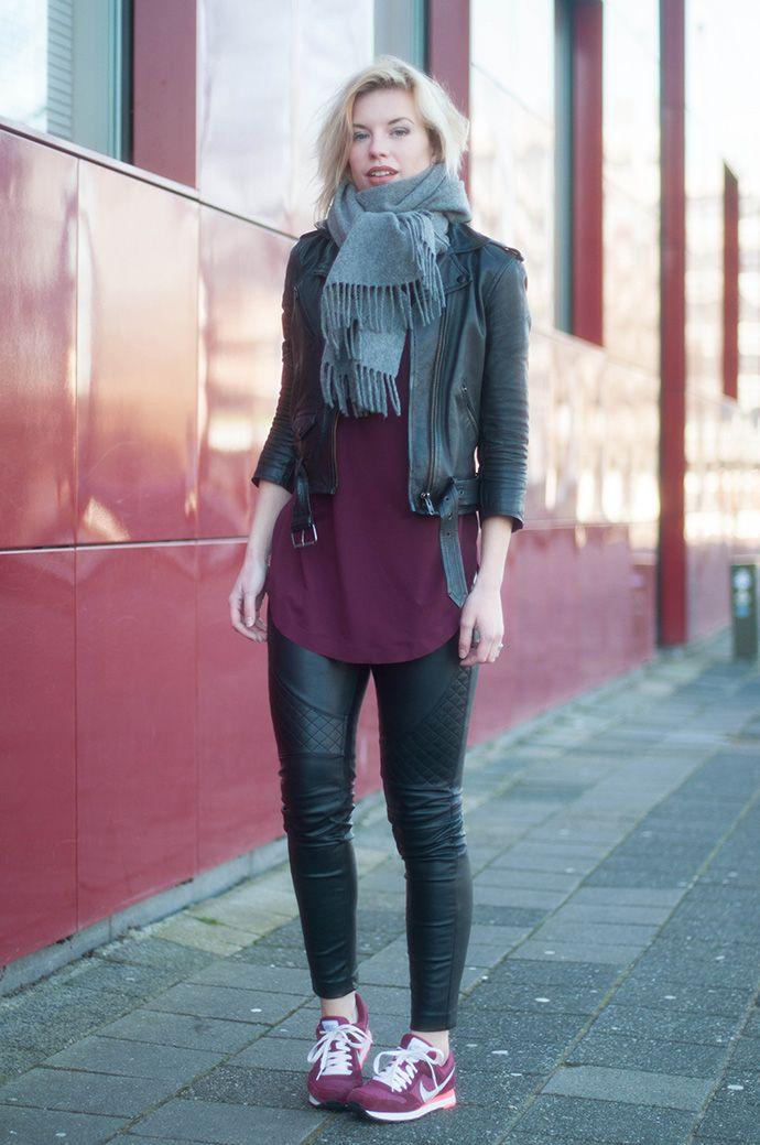 RED REIDING HOOD: Nike MD runner burgundy sneakers faux leather biker pants acne studios canada wool scarf cos top