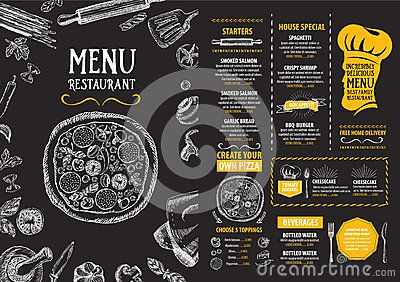 Vector Illustration about Restaurant cafe menu, template design. Food flyer.